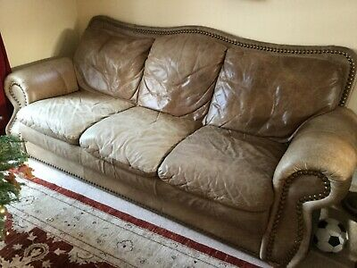 Leather 3 Seater Sofa - Brown, Classic style of Good Condition for sale  Pulborough