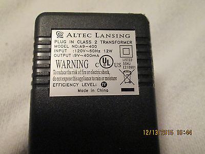 ALTEC LANSING ADAPTER MODEL A9-400 IN 120V/60Hz/12W OUT 9V/400mA