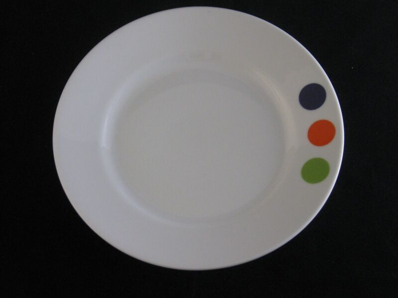 Crate & Barrel Orange, Purple & Green Circles Dots Porcelain Salad Plate CBL52