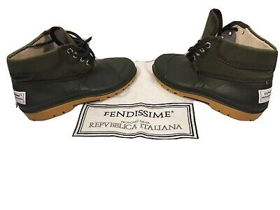 Fendissime Fendi Army Green Women's Sports Ankle Boots / Shoes Size 7 Italy 37