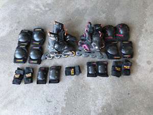 Roller blade set with pads/ patins à roues alignées+protection