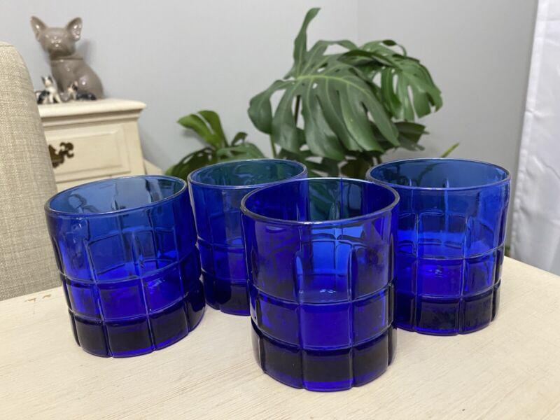 Set of 4 Vintage Plaid Cobalt Blue Anchor Hocking Tartan Short Drinking Glasses