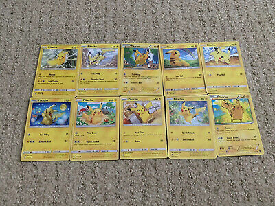 Pokemon Pikachu Card Lot Of (10) NM/M - Great Gift!