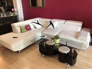 White leather section sofa