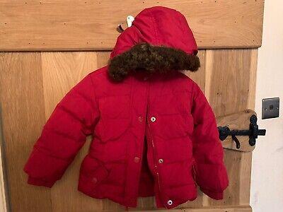 Red Baby Gap Puffer Jacket Coat Girls Age 3  Padded Detachable Hood.