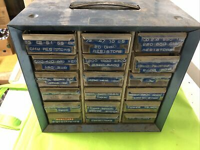 Storage Cabinet Akro-mills A-m Metal 18 Drawers Blue Sprague Bumblebee Resistors