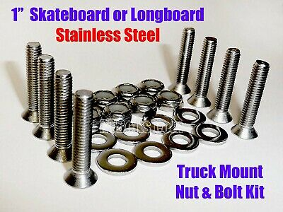 "Stainless Truck Hardware • 1"" for Skateboard or Longboard • Screws • Bolts • USA"