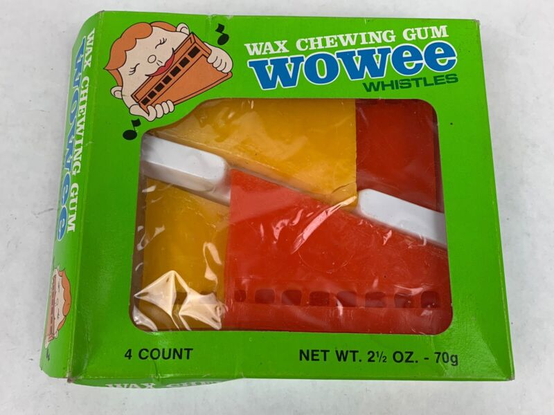 Vintage WOWEE CHEWING GUM WHISTLES~NEW OLD STOCK- Opened Box- Box Of 4
