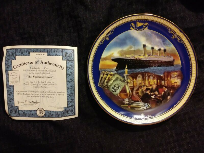 """Antique """"Smoking Room"""" Titanic Queen of the Ocean authentic plateware #1226A"""