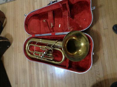 Brass French Horn In w Velvet Lined Black Case Music Tree Ornament NEW band
