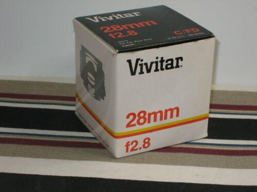 Vintage Vivitar 28mm F/2.8  Canon C / Canon FD Mount Lens New In Box