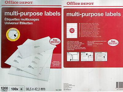 Etiketten Adress Etiketten DIN A4 inkl.Onlinesoftware 1200 Stk 96,5 x 42,3 mm