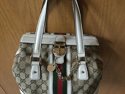 Gucci Original Doctor Style Handbag.    Fabric Print, Leather Trim.