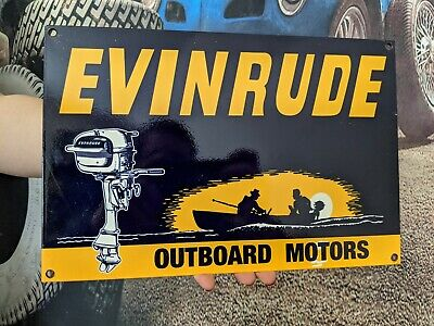 VINTAGE OLD EVINRUDE BOAT MOTORS ADVERTISING PORCELAIN GAS & OIL SIGN FISH BAIT