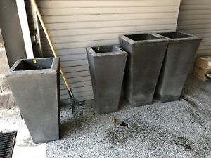Grey Fiberglass grooved planters