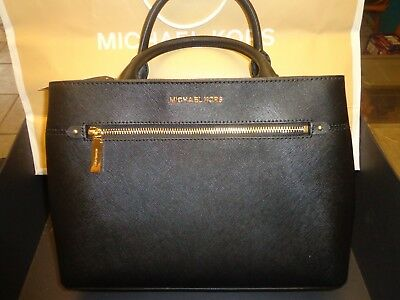 Michael Kors Black Saffiano Leather Hailee Medium Satchel Handbag Purse +wallet