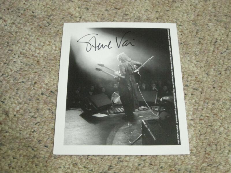 Steve Vai - Signed 8x10 black & white litho print with tour guitar pick