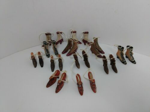 "24 Lot Assorted Miniature Resin Victorian Shoes Tree Ornaments 1.5""/1""H x 1.5""L"