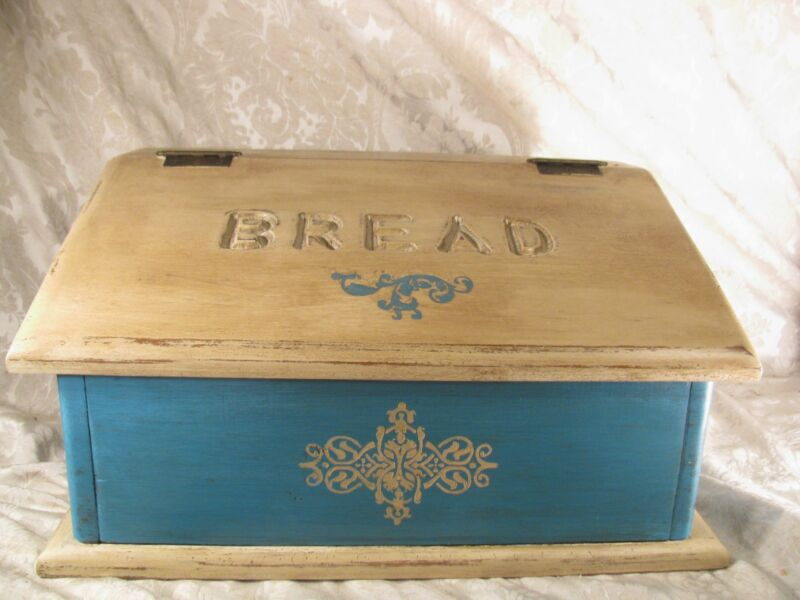 Vintage Solid Wood Shabby Chic Teal Ochre Kitchen Bread Box