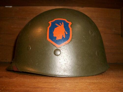WW2 U.S. ARMY 98TH INFANTRY DIVISION MARKED IROQUOIS HELMET LINER VERY NICE