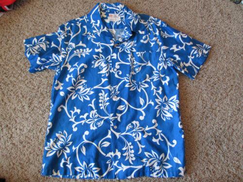 Vintage Hawaiian Aloha Shirt - By Kawika of Hawaii Blue Floral Pattern - Men