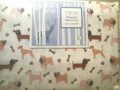 Twin 100% Cotton Flannel Sheet Set Dogs Pillowcase Flat & Fitted Sheets - NEW
