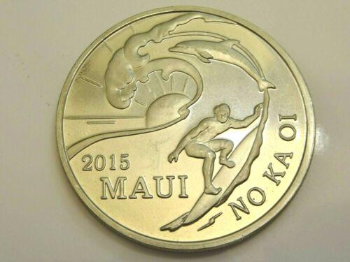 Brilliant Uncirculated 2015 Surfer Hawaii Maui Trade Dollar 39mm Coin w/ COA!
