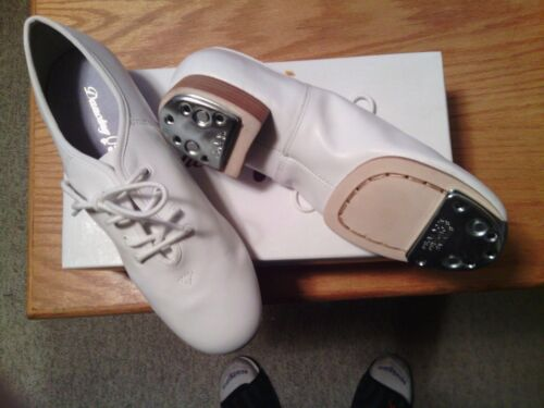 CLOGGING SHOES, NEW, ALL LEATHER, size 8 WHITE SPLIT SOLE WITH BUCK TAPS