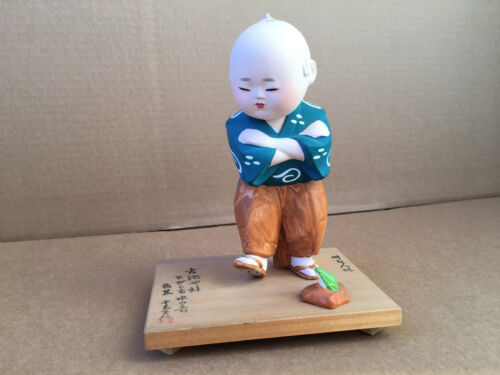 VINTAGE JAPANESE HAKATA Boy w/Foot Up by Green Little Frog on Wood Base w/Poem