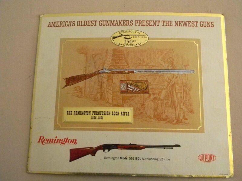 Remington Percussion Lock Rifle Anniversary Store Display Cardboard 1816-1966