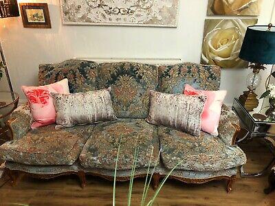 Large Antique French Sofa In Blue Embossed Velvet