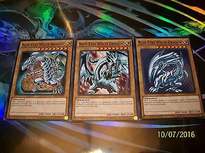 3x Blue-Eyes White Dragon 3 Artworks 1st Edition Common LDK2-ENK01 Yu-Gi-Oh!