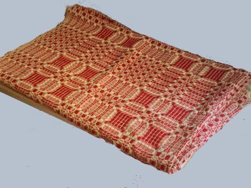 Crisp Antique Red & White Overshot Coverlet Center Seamed 66 x 82