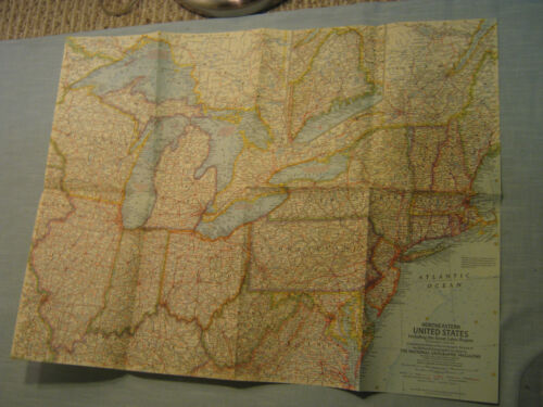 VINTAGE NORTHEASTERN UNITED STATES MAP National Geographic April 1959