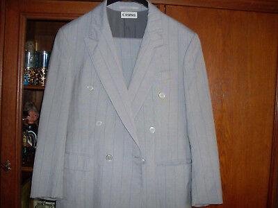 Anzug Gr. 46 gestreift grau mit.blau Umschlaghose CASINO
