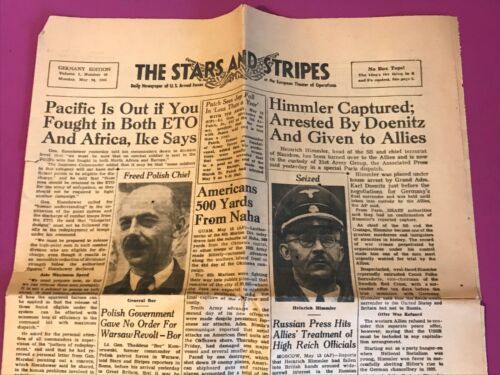 The Stars and Stripes Magazine May 14, 1945 Himmler Captured Arrested By Doenitz