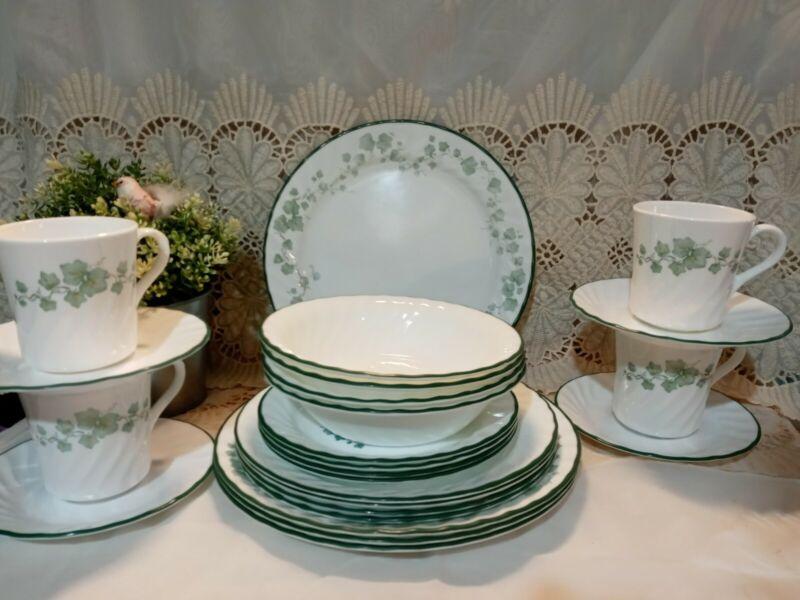 Vintage Corelle Callaway Green Swirl Ivy 24 Pc Dinnerware set plate bowl mug