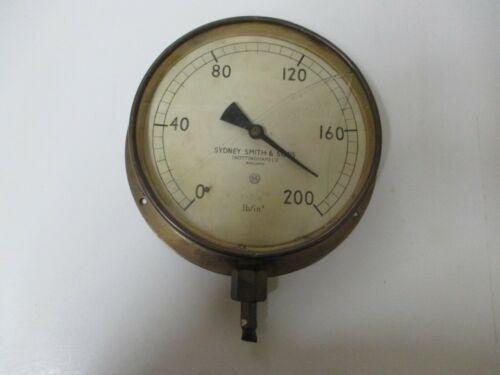 """Vintage 8"""" Brass Face, Pressure Gauge Steampunk IndustrialSydney Smith & Son"""