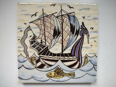 Arts and Crafts style tile with ship design. Decorative Tile Works V & A Museum