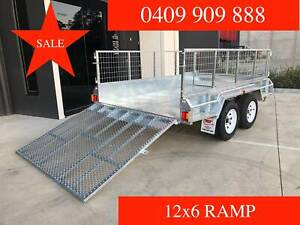 12x6 Galvanised trailer tandem with 1.5m Ramp 600mm Cage 2000kgs ATM