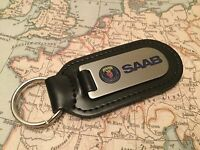 Saab Key Ring Etched And Infilled On Leather 9-3 9-5 900 90 - saab - ebay.co.uk