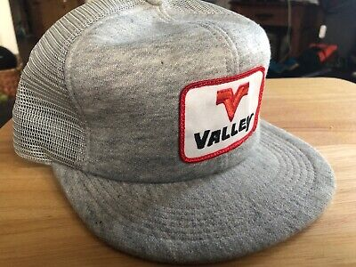 VTG VALLEY 80s USA K-Products Gray Trucker Hat Cap Snapback Feed Seed FARMING