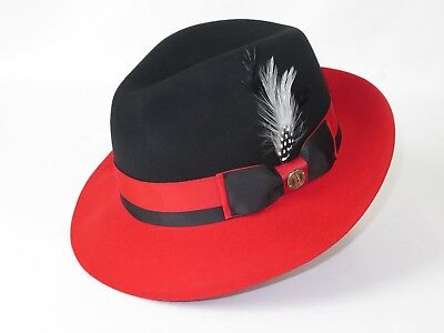 Mens Bruno Capelo Dress Hat Australian Wool Pinch Front Fedora Caesar Black Red - Mens Red Fedora Hat