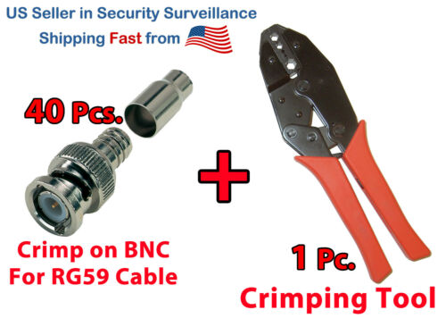 40x Crimp On BNC Video Male Connector for Siamese RG59 Cable + Crimping Tool