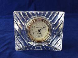 Howard Miller Alarm Clock Glass Square Mantel Desk Vintage 4.5 x 4