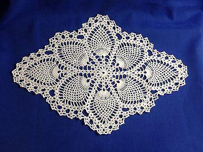 "Crochet Doily in Pineapple Pattern, Oval, 12"" x 17"", New, White"