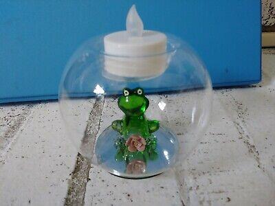 Glass Frog Globe Tea Light Holder