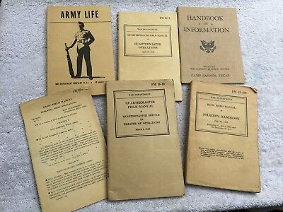 LOT OF (6) UNITED STATES ARMY~WW2 PERIOD~HANDBOOKS~ALL ORIGINAL & DATED WAR~USA