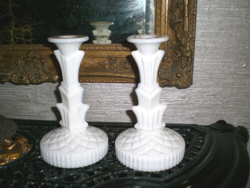 MILK GLASS CANDLE HOLDERS / Tall Pair ART DECO