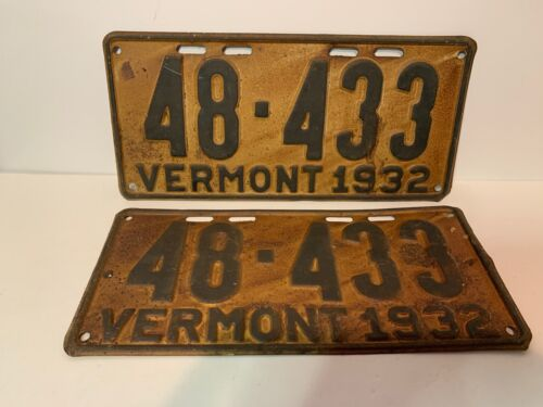 Matched Pair 1932 Vermont License Plates, Tags